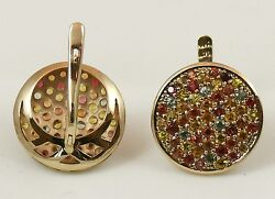 Set Of 2 Ring And Earrings, 9k Solid Gold, Multi-coloured Sapphires, Handmade