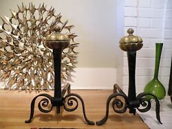 18thc Antique Brass Ball Faces Finial Wrought Forged Iron Andirions Fire Dogs