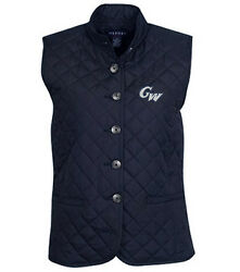 Ncaa George Washington Colonials Womenand039s Quilted Button Front Vest Navy M