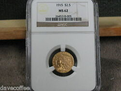 1915 Gold Indian Head-ngc Ms62-nice Speciman-free Shipping