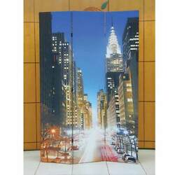 Trudy Beautiful New York City Finish Wood 3 Panels Divider Folding Screen Shoji