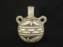 Reduced A Fine Acoma Pottery Canteen Native American Indian Artifact C.1900