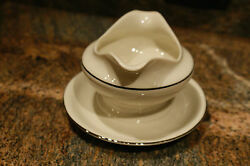 Gateway China Wedding Band Footed Gravy Boat - Mint Cond, Used For Display Only