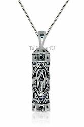 Mezuzah Pendant With Scroll Shema Israel Sterling Silver Judaica Hamsa Necklace