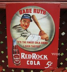 Babe Ruth Baseball Classic Red Rock Cola Soda Pop Advertising Metal Picture Sign