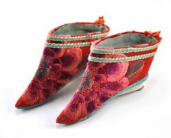 Vintage Chinese Foot Bind Bound Feet Lotus Shoes Silk Handmade Hand Embroidery