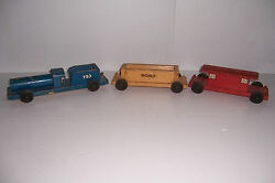 Vintage Noma Woodies Wooden Toy Train Set Pull Toy 3 Piece Set