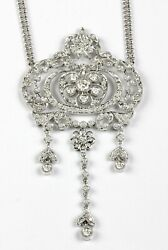 14k White Gold Antique Style Necklace With 1.64ct Round Diamonds