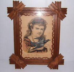 Antique Currier And Ives The Carrier Dove In Wooden Carved Adirondack Frame