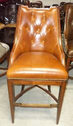 Frontgate Bradford Tufted Chestnut Leather Barstool Bar 30 Wood Counter Stool