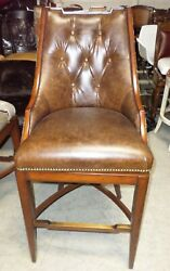 Frontgate Bradford Tufted Sc Brown Leather Barstool Bar 30 Wood Counter Stool