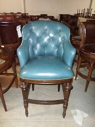 Frontgate Boswell Blue Leather Barstool Bar 30 Wood Counter Kitchen Stool