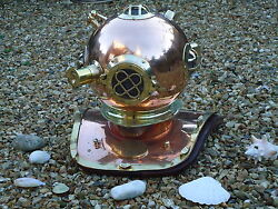 Divers Helmet Copper And Brass Full Size Us Navy Style -nautical Pub Bar Diving
