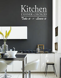 Kitchen Dinner choices Wall Quote Stickers Wall Decals kitchen living room