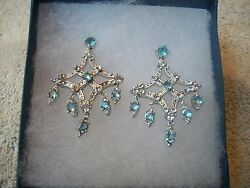 Nolan Miller Earrings Chandelier Silvertone Blue And Clear Austrian Crystals New