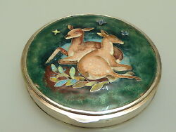 Groandszlige Silber Emaille Dose Art Deco Rehe Nice Silver Box Enameled With Dears