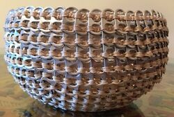 Woven Basket, Made From Soda Can Tabs, 8 Diameter, 5 High. Beige