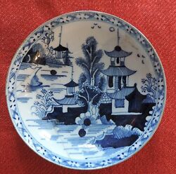 Antique 18th C. Worcester Blue And White Porcelain Saucer Plate Chinese Pagoda