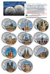 Famous Churches Of The World Colorized Jfk Kennedy Half Dollar U.s. 11-coin Set
