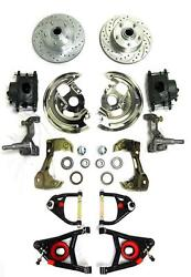 1964-72 Chevy Chevelle Front Disc Brake Conversion Kit + Tubular A-arms Slotted