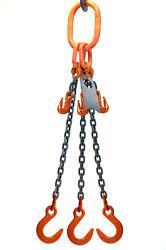 Chain Sling - 5/8 X 10and039 Triple Leg With Foundry Hook And Adjuster - Grade 100
