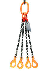 Chain Sling - 5/8 X 10and039 Quad Leg With Positive Locking Hooks - Grade 80