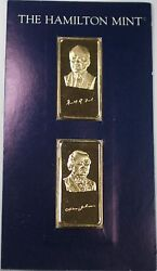 Gerald R Ford And Andrew Johnson Gold Plated Fine Silver Ingots 1 Troy Oz Set