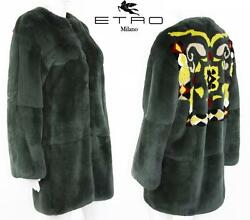 New 9000 Etro Real Fur Coat Jacket Abstract Design Green Gray It. 42 - Us 6