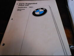 Vintage 1981 Bmw Motorcycle Parts Price List Usa 126 Pages