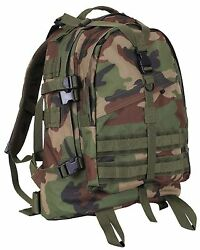 Woodland Camouflage Large Transport Pack Backpack - Camo 19 Molle Tactical Bag