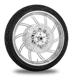 Performance Machine 21 Front Chrome Supra Wheel Tire Rotor Package Harley 08-13