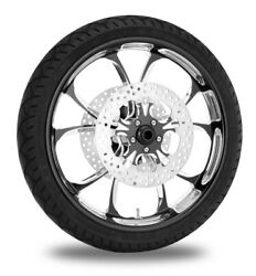 Performance Machine 21 Front Black Luxe Wheel Tire Rotor Package Harley 14-15