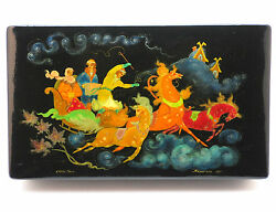 Russian Palekh Handpainted Large Lacquer Box, Signed Malinkina, Dated 1972