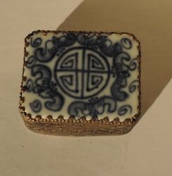 Vintage Chinese Blue And White Porcelain Metal Rectangular Pill Snuff Box Mirror