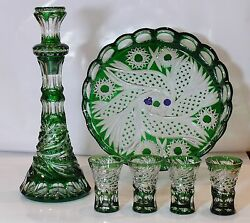 Wine Set Royal- Decanter, 4 Shot Glasses And Tray Green Cased Crystal Russia New