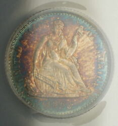 1862 Seated Liberty Silver Half Dime Anacs Ms-62 Very Choice Coin Toned Aa