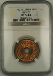 1942 Palestine 10m Ten Mils Bronze Coin Ngc Ms-64 Rb Red-brown Mostly Red