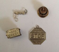 Lot Of 4 Vintage Sterling Love Charms 1 Beau Hope Chest Great Price Free Ship