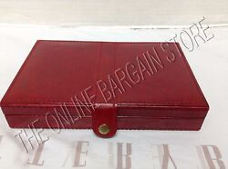 Pottery Barn Red Leather Case Bridge Deck Card Game Set Toys Christmas Gift
