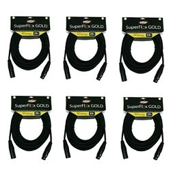 6 High Quality Premium Xlr Mic Cables 25and039 Ft Gold Contacts By Superflex Gold