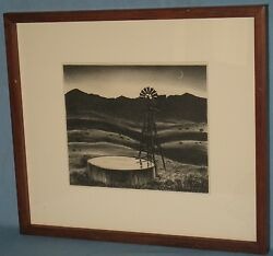Vintage Pine Framed And Matted Litho 'the Water Tank/windmill' Peter Hurd 1936