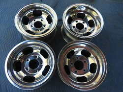 VINTAGE SET  POLISHED 15X7 & 8.5 US INDY MAG STYLE MAGS 5 ON 5 12 FORD PICKUP