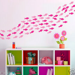 School of Fish in 2 colour ways Removable wall stickers for Kids room Nursery