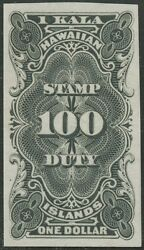 Hawaii R3p3 1 Stamp Duty Plate Proof On India Paper Xf+ Hv9105