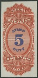 Hawaii R4p3 5 Stamp Duty Plate Proof On India Xf Hv9110