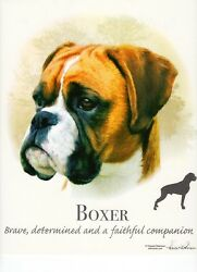 BOXER uncropped DOG w Phrase on 18quot; x 22quot; Fabric Panel toSew. Pic is 10quot;x10.5quot;