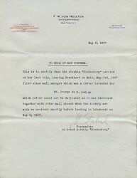 M. Zabil Pm On Board Hindenburg Letter On Why Mail Didnand039t Make It. Bs2769