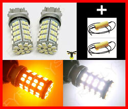 120 LED Dual Color Switchback 3157 3457 Turn Signal Lights & Resistors #F7