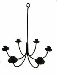 Hand Forged Black Wrought Iron 6 Arm Candle Chandelier Usa Amish Made Farmhouse