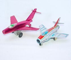 2x China Mf-951 Russian Ussr Mig Jet Fighter Plane Tin Friction Toy New`65 Rare